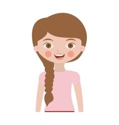 Half body cute girl with braided hair vector