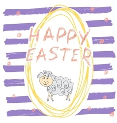 Happy Easter hand drawn greeting card with vector image vector image