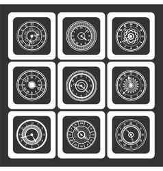 Monochromic ornamental watches vector