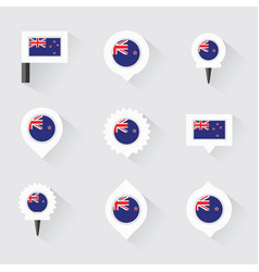 New zealand flag and pins for infographic and map vector