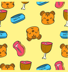 Pattern cute cat colorful collection vector