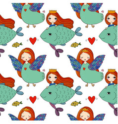 Pattern with girl sirin and mermaid vector