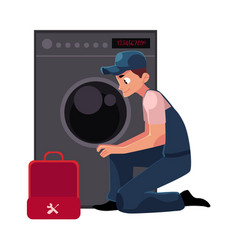 Plumbing specialist plumber with toolbox fixing vector