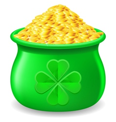Pot full of gold coin vector image