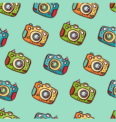 seamless pattern with hand drawn photo camera vector image vector image