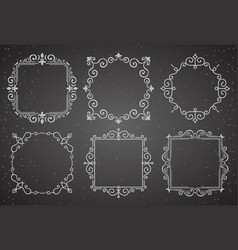 Set of victorian vintage decoration frames vector