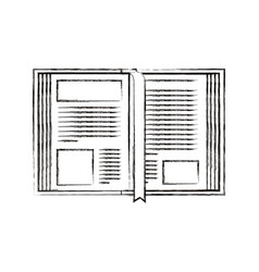 Sketch blurred silhouette image open book with vector