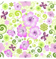 spring repeating white floral pattern vector image vector image