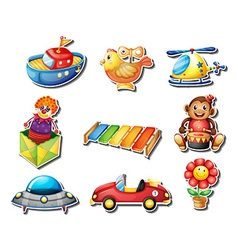 Sticker set of many toys vector image vector image