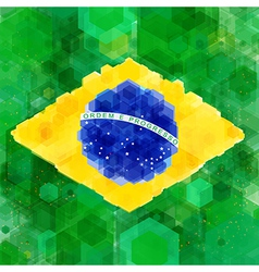 Stylized flag of brazil hexagon background vector