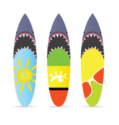 Surfboard with shark on it set leisure vector