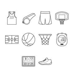 thin line basketball icon set vector image vector image