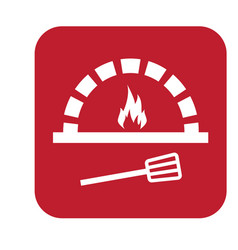 Thin line pizza oven icon vector
