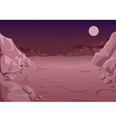 Uninhabited planet in space martian night vector