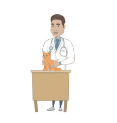 Young hispanic veterinarian examining cat vector