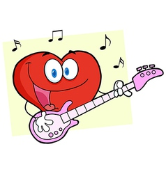Valentine heart character guitarist playing a song vector