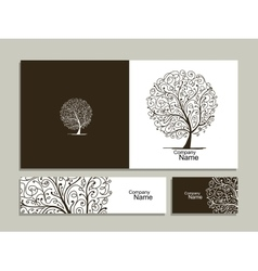 Business card collection abstract tree design vector
