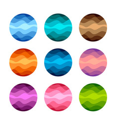 Isolated abstract colorful round shape logos set vector