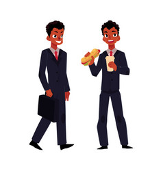 black african businessman going to work eating vector image