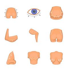 Ideal body shape icons set cartoon style vector