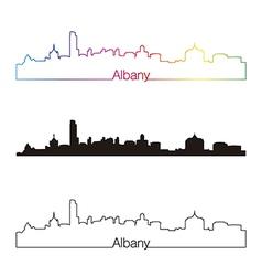 Albany skyline linear style with rainbow vector image