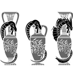 snakes with jugs vector image