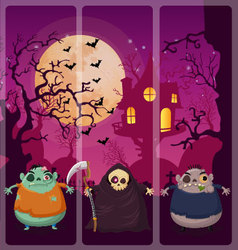 Halloween and background set 5 vector