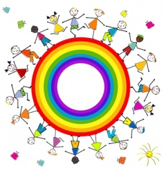 rainbow children vector image