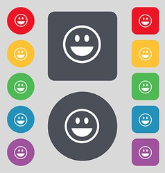 Funny face icon sign a set of 12 colored buttons vector