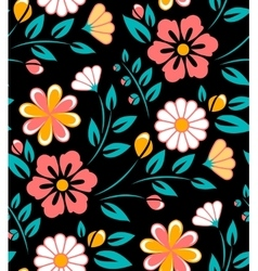 Seamless spring flower pattern on black background vector
