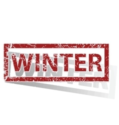 Winter outlined stamp vector