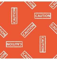 Orange caution stamp pattern vector