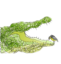 Crocodile and bird vector