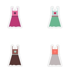 Set of paper stickers on white background dress vector image