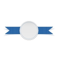 Festive label template on blue ribbon vector