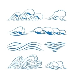 Sea waves icons vector image