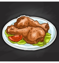 Chicken legs color picture sticker vector