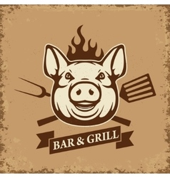 Bar and grill pig head with kitchen tools on vector