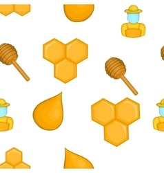 Bee honey pattern cartoon style vector