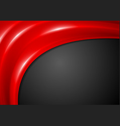 Black corporate background with smooth red waves vector