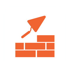 Brick with trowel symbol vector