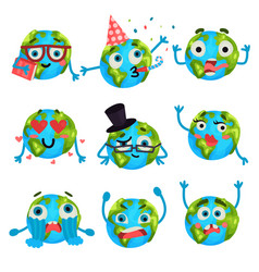 cartoon funny earth planet emoji with different vector image vector image