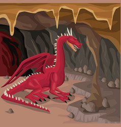 cave interior background with dragon greek vector image