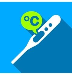 Celsius temperature flat long shadow square icon vector