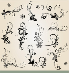 collection of ornamental christmas decorations vector image vector image