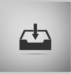 Download inbox icon isolated on grey background vector