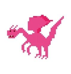 Dragon beast pixelated icon vector
