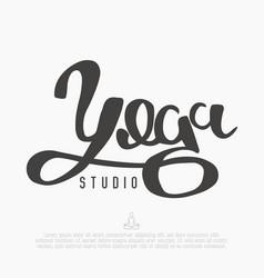 handwritten word yoga for logo of studio vector image vector image