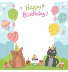 Happy Birthday card background with dog and cat vector image vector image