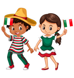happy boy and girl holding flag of mexico vector image vector image